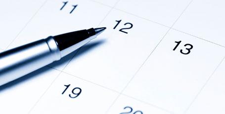 Kugelschreiber auf Kalenderblatt