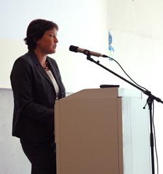 Irmgard Badura, die Behindertenbeauftragte der Bayerischen Staatsregierung, bei ihrem Grußwort