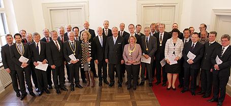 Wissenschaftsminister Dr. Ludwig Spaenle und Staatssekretär Bernd Sibler mit den Präsidentinnen und Präsidenten der bayerischen Hochschulen