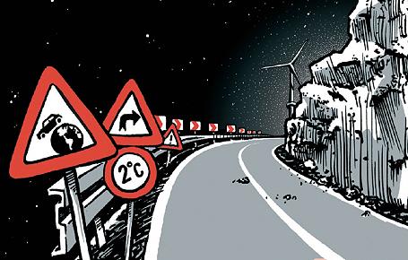 Bei 2 Grad die Kurve kriegen: Titelbild des Comics (© 2013 Jacoby & Stuart)
