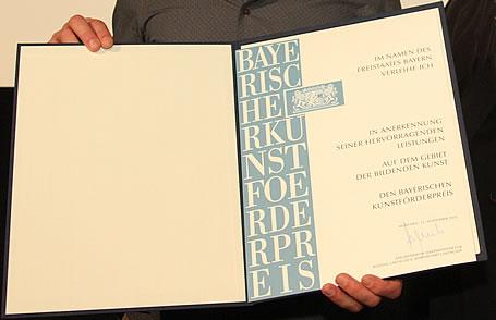Urkunde der Bayerischen Kunstförderpreise