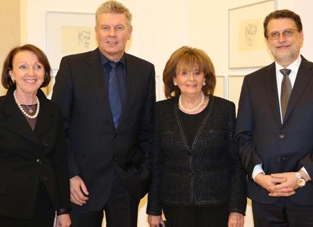 Dr. Eva Umlauf (Überlebende des Konzentrationslagers Auschwitz), Dieter Reiter (Münchner Oberbürgermeister), Dr. Charlotte Knobloch (Vorsitzende der Israelitischen Kultusgemeinde)  und Harald Eckert (1. Vorsitzender der