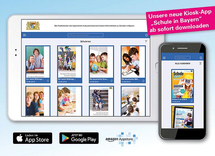 """Mit einem Klick ins Bild gelangen Sie direkt zur Webansicht der Kiosk-App """"Schule in Bayern"""""""