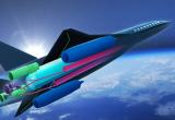 Fotomontage eines Flugzeugs mit Blick auf die Erdkugel