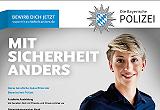 Plakat der Polizei mit junger Polizistin