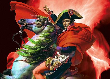 Napoleon am Großen St. Bernhard - Ausschnitt des Ausstellungsplakats
